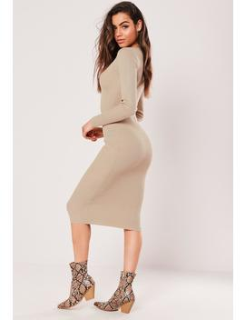 Sand Rib Button Round Neck Midi Dress by Missguided