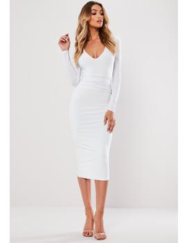 White Slinky Plunge Waistband Midi Dress by Missguided