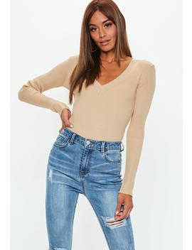 Camel Ultimate Plunge Knitted Bodysuit by Missguided