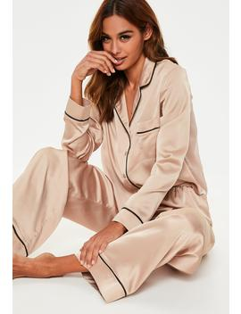 Mink Long Sleeve Piped Trim Pyjama Set by Missguided