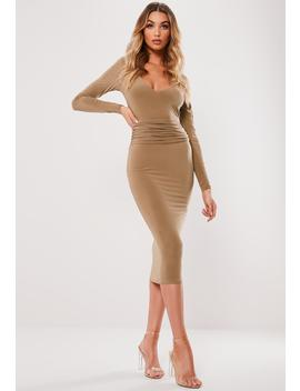 Camel Slinky Plunge Waistband Midi Dress by Missguided