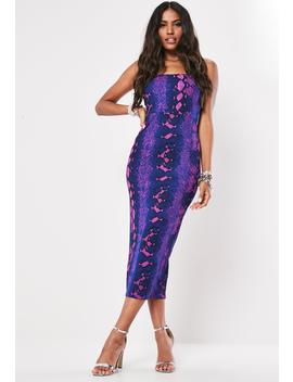 Blue Snake Print Halterneck Bodycon Midi Dress by Missguided