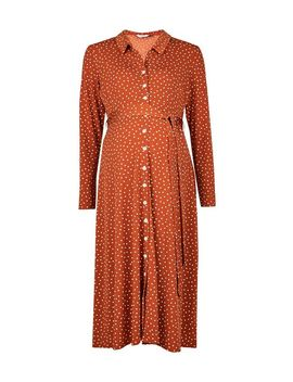 **Maternity Ginger Interlock Twist Yarn Midi Shirt Dress by Dorothy Perkins