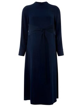 **Maternity Navy Manipulated Knot Skater Dress by Dorothy Perkins
