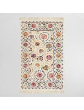 Blush Floral Embroidered Cotton Jaipur Area Rug by World Market