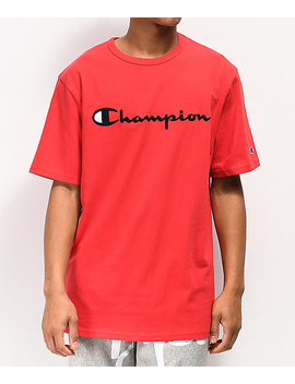 Champion Heritage Embroidered Script Red T Shirt by Champion