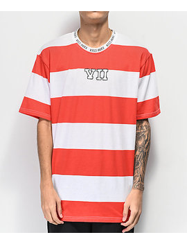 Salem7 Vii Red &Amp; White Striped T Shirt by Salem7