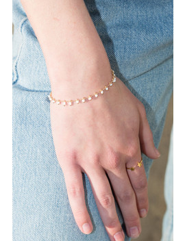 Gold White Bead Bracelet by Brandy Melville
