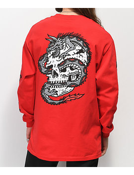 Lurking Class By Sketchy Tank Dragon Red Long Sleeve T Shirt by Lurking Class By Sketchy Tank