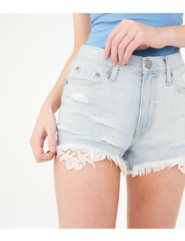 High Waisted Crochet Denim Shorty Shorts by Aeropostale