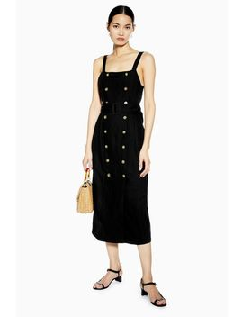 Belted Pinafore Dress With Linen by Topshop