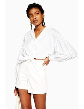 Ivory Poplin Tie Front Shirt by Topshop