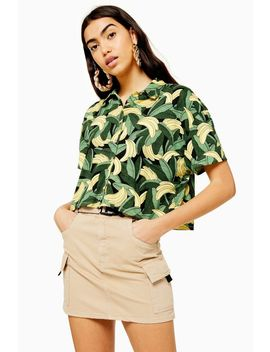 bananas-print-polo-top by topshop
