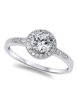 Oxford Diamond Co 1.25ct Halo Set Solitaire Cubic Zirconia & Simulated Gemstone Promise Engagement Ring .925 Sterling Silver Ring Sizes 3 12 Colors Available by Oxford Diamond+Co