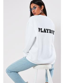 Playboy X Missguided White Slogan Back Sweatshirt by Missguided