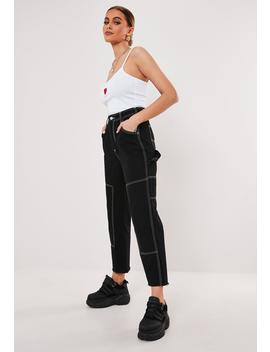 Black Contrast Stitch Cropped Trousers by Missguided