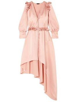 Tarragona Asymmetric Ruffled Silk Satin Dress by Magda Butrym