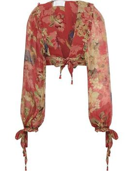 Cropped Bow Detailed Floral Print Silk Georgette Top by Zimmermann