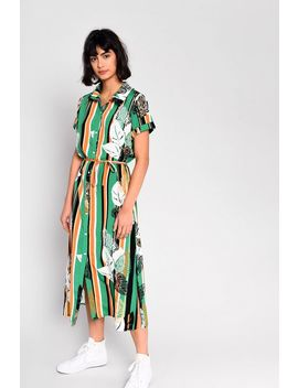 **Tropical Palm Shirt Dress By Glamorous by Topshop
