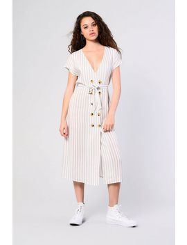 **Striped Button Front Dress By Glamorous by Topshop