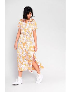 **Tie Waist Tropical Shirt Dress By Glamorous by Topshop