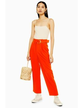 Red Belt Tapered Trousers by Topshop