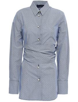 Belted Printed Cotton Poplin Shirt by Piazza Sempione