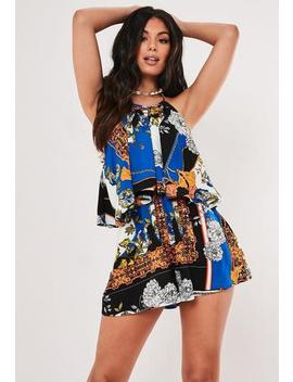 Blue Multi Floral Graphic Overlay Playsuit by Missguided