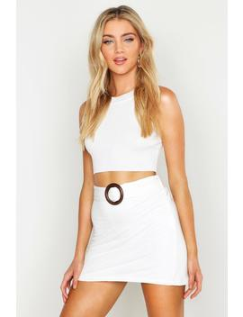 O Ring Linen Look Mini Skirt by Boohoo