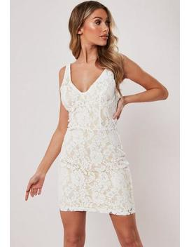 White Floral Lace Bodycon Mini Dress by Missguided