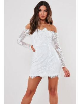 White Eyelash Lace Bardot Bodycon Mini Dress by Missguided