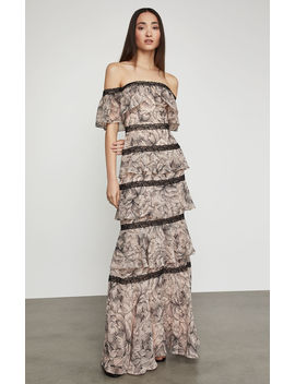 Off The Shoulder Tiered Ruffle Gown by Bcbgmaxazria