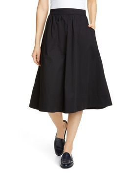 Gathered Organic Stretch Cotton Midi Skirt by Eileen Fisher