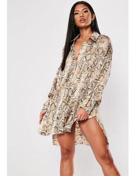 Brown Snake Oversized Dip Back Shirt Dress by Missguided