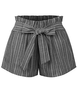 Kogmo Womens Casual Striped Summer Beach Shorts With Self Tie Bow by Kogmo