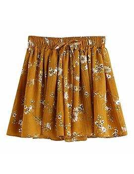 Womens Floral Mid Waist Paper Bag Shorts Flared Shorts Pants Chino Shorts by Taore