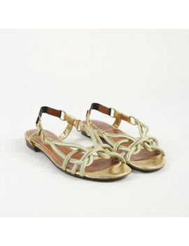 Lanvin Metallic Gold Rope Open Toe Low Heel Sandals Sz 38 by Lanvin