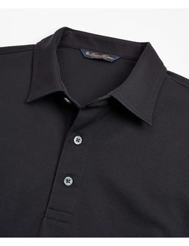 Tailored Lightweight Supima® Cotton Pique Long Sleeve Polo Shirt by Brooks Brothers