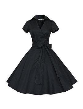 Maggie Tang 50s 60s Vintage Short Sleeves Swing Rockabilly Ball Party Dress by Maggie Tang