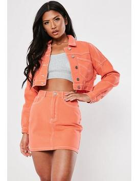 Peach Co Ord Cropped Denim Jacket by Missguided