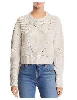 Cropped Pointelle Sweater   100 Percents Exclusive by Aqua