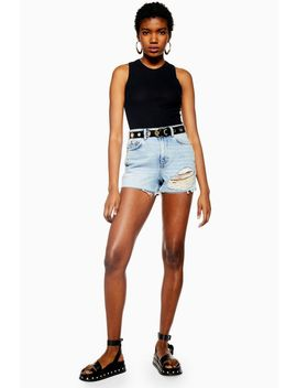 Bleach Wash Ripped Denim Mom Shorts by Topshop
