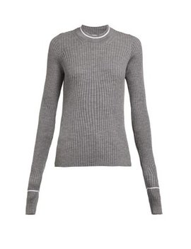 Extra Long Sleeved Rib Knit Wool Blend Sweater by Maison Margiela