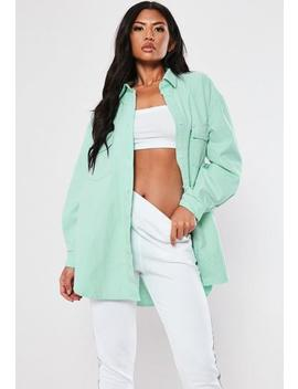 Mint Denim Super Oversized Shirt by Missguided
