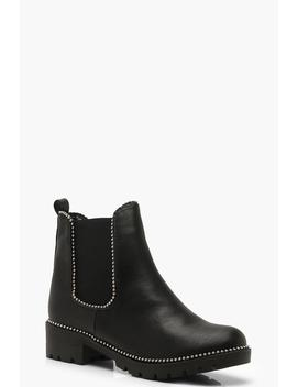 Stud Detail Chunky Chelsea Boots by Boohoo