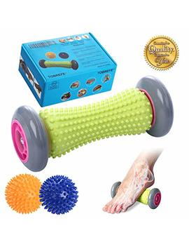Foot Roller Massage Ball For Relief Plantar Fasciitis And Reflexology Massager For Deep Tissue Acupresssure Recovery For Pla Relax Foot Back Leg Hand Tight Muscle, 1 Roller And 2 Spiky Balls by Tobrefe