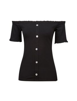 Black Frill Bardot Top by Dorothy Perkins