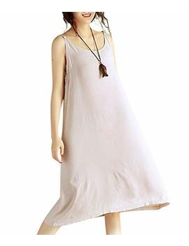 Yesno Jel Women Casual Loose Slip T Shirt Dresses Beach Cover Up Plain Dress A Skirt Hemline by Yesno