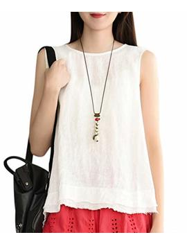Yesno Women Casual Loose Embroidered Sleeveless Blouse Vest Summer Linen Tank Tops 'a' Skirt Hi Low Hem Y55 by Yesno
