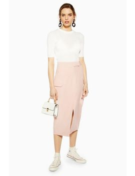 Nude Split Utility Midi Skirt by Topshop